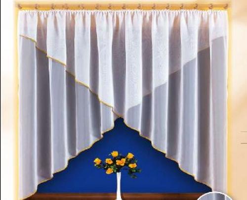 Тюль для кухни с шитьем