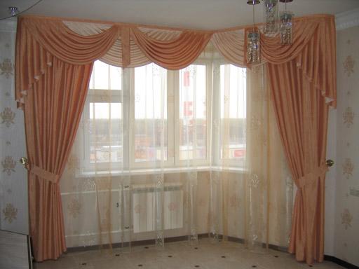 шторы для кухни с эркером.